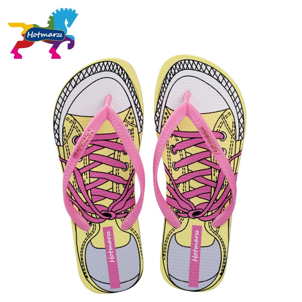 Hotmarzz Жінки фліп-флоп дизайнер літні сандалі мода тапочки критий полотно мультфільм пляж взуття Mule домашні тапочки  t