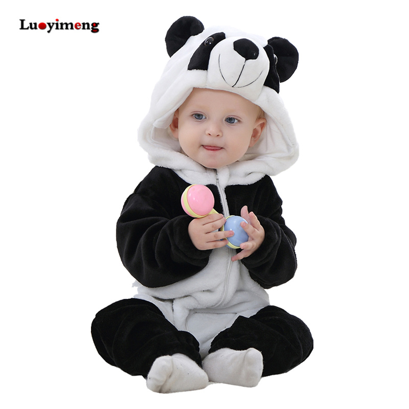 2018 Winter New Born Baby Clothes Animal Cartoon Hooded Baby Rompers Flannel Girls Boys Outfit Panda Jumpsuit Warm Infant Romper iyeal baby rompers warm soft flannel winter baby clothes cartoon animal 3d ears children girls jumpsuit newborn infant romper