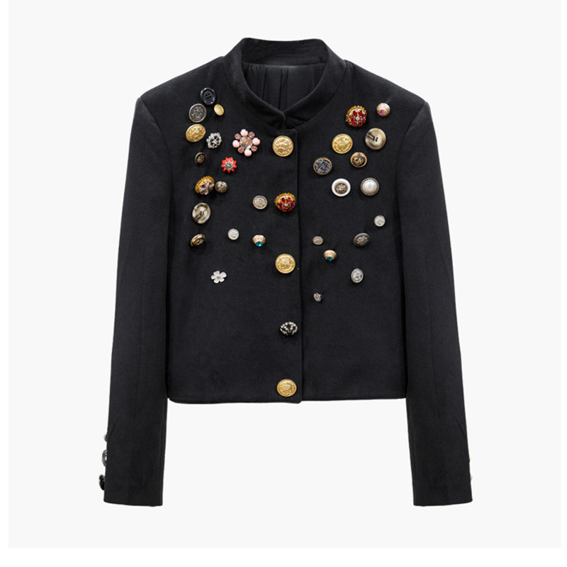 Handmade Luxury Blazer Suits For Women Vintage Different Buttons Diamond Beading Short Blazers Coat Black
