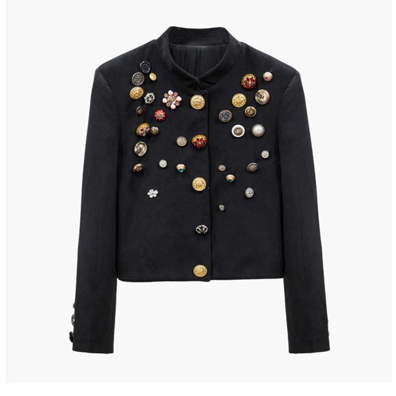 Handmade Luxury Blazer Suits For Women Vintage Different Buttons Diamond Beading Short Blazers Coat Black