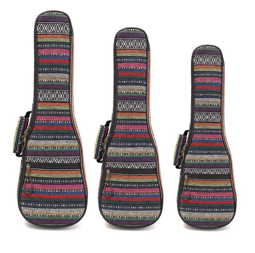 21 23 26 Inch Ukulele Carry Bag Double Strap Hand Folk Canvas Cotton Padded Case For Ukulele Guitar Parts & Accessories purple color carry bag for 7 8 hand held crystal singing bowls with heavy duty canvas carrier