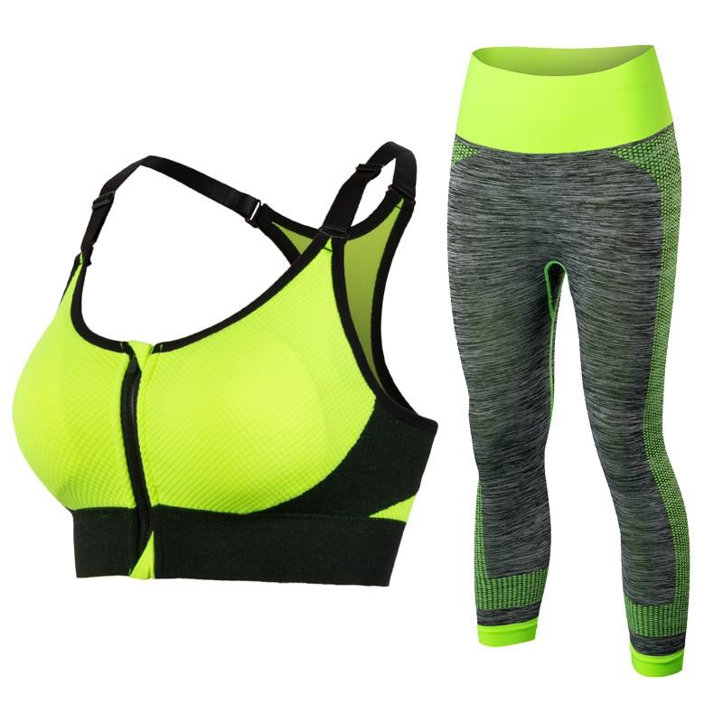 Új nők jóga ruházat sport melltartó jóga leggins női sport harisnya futó tornaterem sport öltöny fitness ruhák sárga jóga készletek