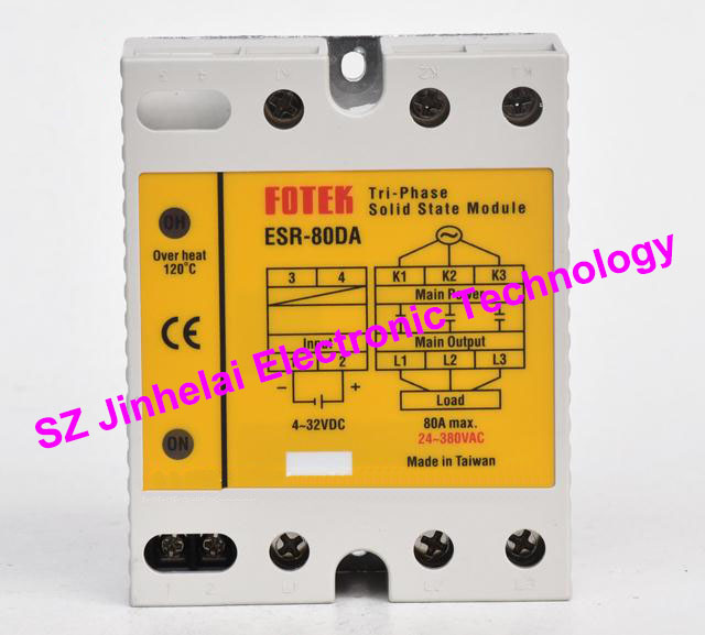 ESR-80DA  New and original FOTEK  Three-phase solid state relay,3-Phase Solid state module  80A brand new original japan niec indah pt200s16a 200a 1200 1600v three phase rectifier module