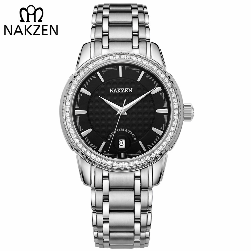 NAKZEN Men Mechanical Watch Men's Automatic Miyota 8215 Movement Diamond Watches Sapphire Wrist Watch Male Waterproof Clock nakzen men s automatic waterproof 50m watch man steel business dress mechanical clock male luxury sapphire diamond fashion watch