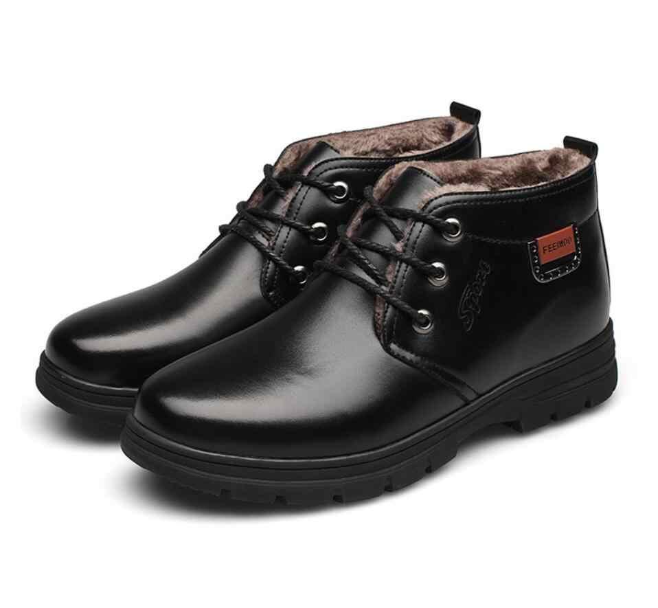 Botas hombre Chelsea Laarzen Mannen Winter veiligheidsschoenen Zwart Split Lederen Laarzen Heren Schoenen Warm Pluche Fur Winter Laarzen Voor mannen