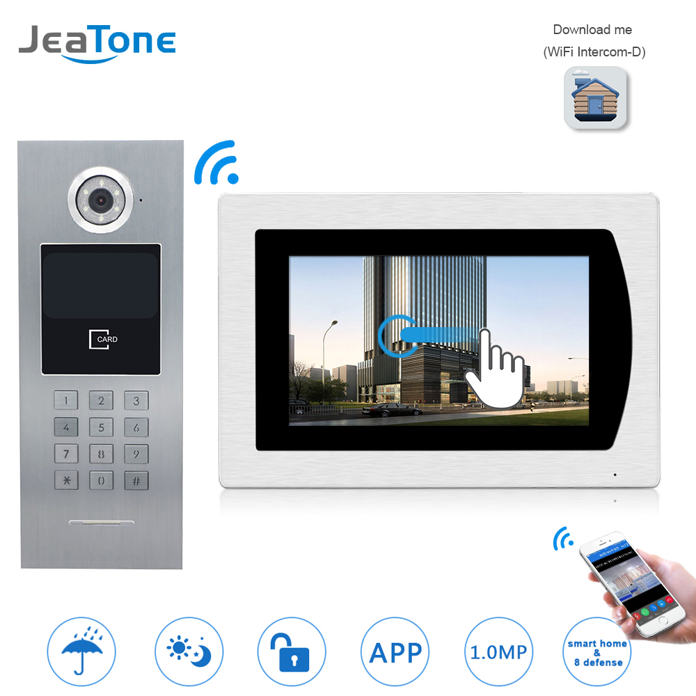 7''WIFI Video Door Phone IP Doorbell Intercom Touch Screen For Building Access Control System Support Password/IC Card/iOS Phone