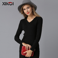 XIKOI 2018 New Spring Deep V Black Pullovers Woman Stretch Knitted Sweater Women Elastic All Match