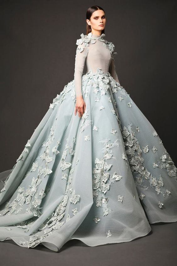 new design glamorous light blue wedding gown hand made flowers high neck long sleeve ball gown