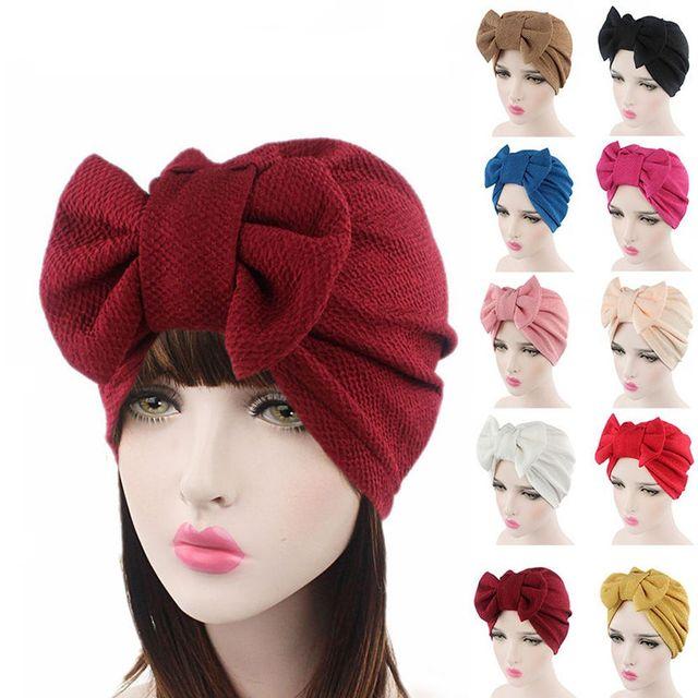 9755424ed8f 2018 Fashion Women Big Bow Turban Hat Headdress Bow Knot Bonnet Hat Chemo  Hair Cap Soft Snood Hat Head Scarf Wrap