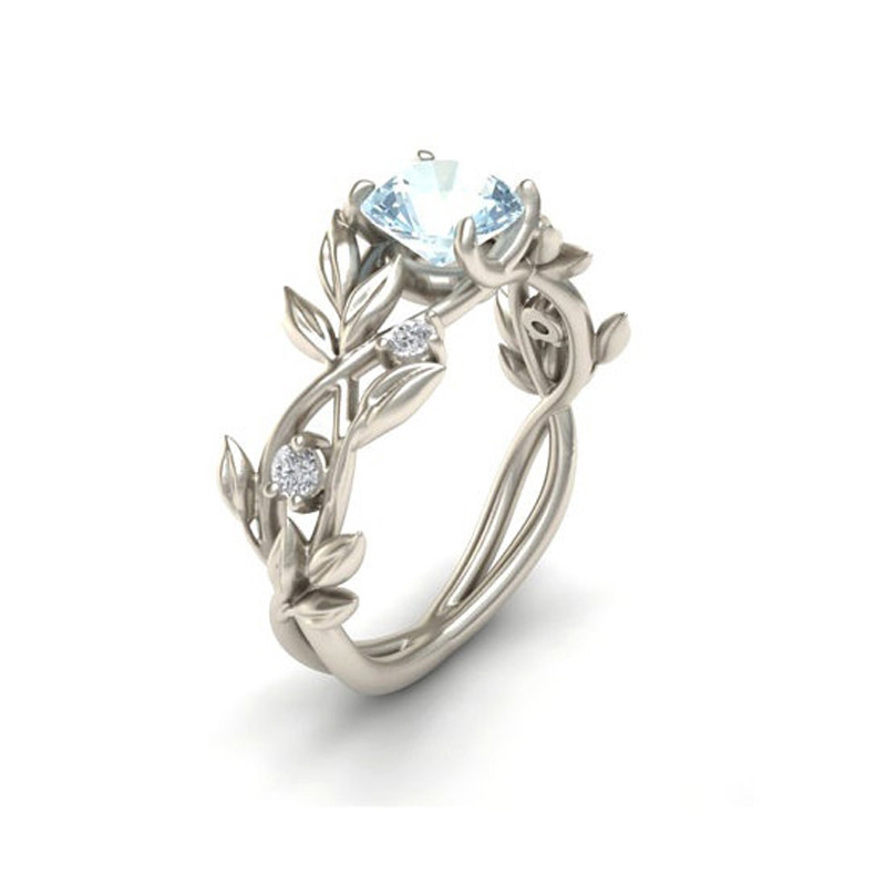 Wedding Crystal Silver Color Rings Vine Leaf Design