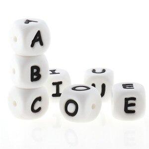 Image 2 - Perles de dentition Alphabet en Silicone, 100 pièces, 12mm, pour bébé infirmière, cadeau, de qualité alimentaire, ensemble rongeur