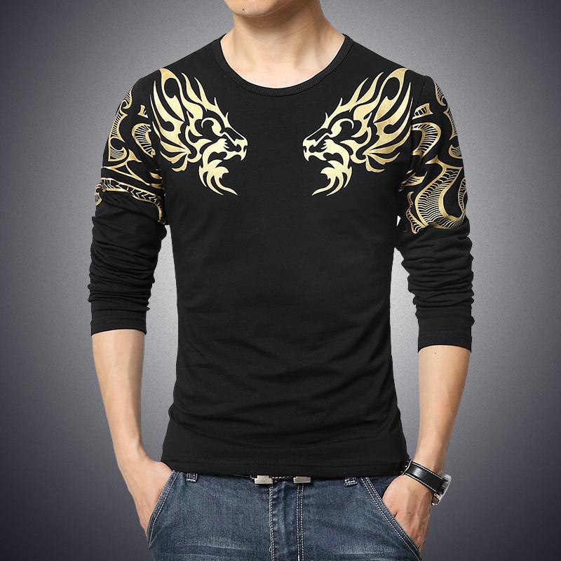 2017 Autumn new high-end men's brand t-shirt fashion Slim Dragon printing atmosphere t shirt Plus size long-sleeved t shirt men 4