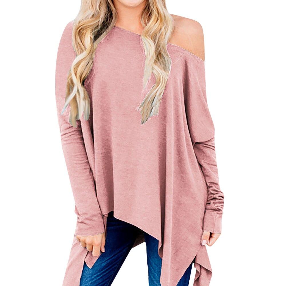 Women T shirts and Tops 2018 Autumn Womens Casual Long Sleeve Irregular Tops T Shirt