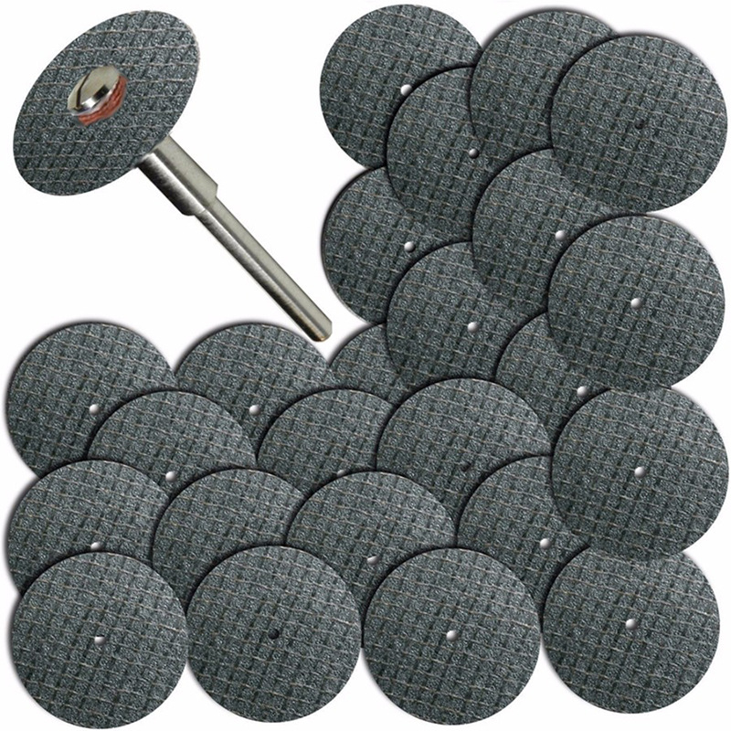 "25pcs Saw Blade + 1pcs Connection Clamp Fiberglass Reinforced Cut Off Wheel Disc W/ 1 Mandrel 1/8"" Fit Dremel Tool"
