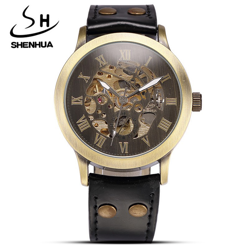 Brand Vintage men watches Male Retro Leather Skeleton Steampunk Automatic Mechanical Watches Men Sport Clock Relogio