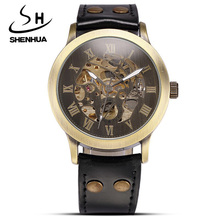 Marca de relojes de los hombres de La Vendimia Masculina de Cuero Retro Steampunk Esqueleto Mecánico Automático Relojes de Los Hombres Del Deporte Reloj Relogio masculino