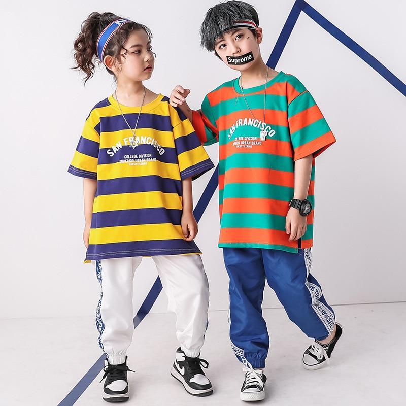 d766a2ef1 Cheap Stripe Hip Hop camiseta pantalón niños trajes de baile para Jazz  Hiphop niñas niños ropa