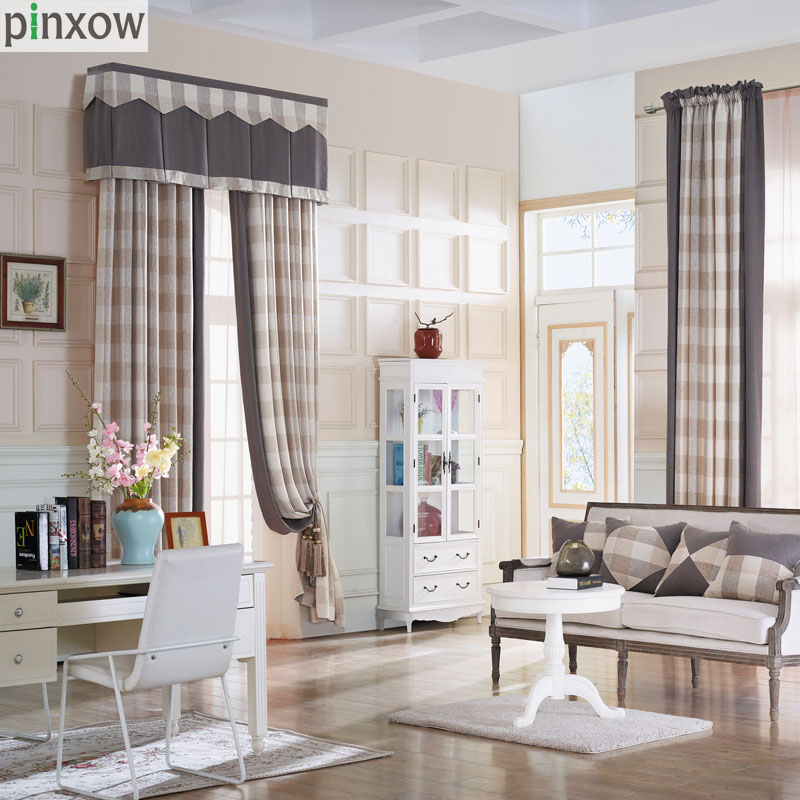 Luxury Chenille Curtains For Living Room Thick Plaid Drapes Bedroom Dinning Window Scotland Khaki Soft Blind Custom New