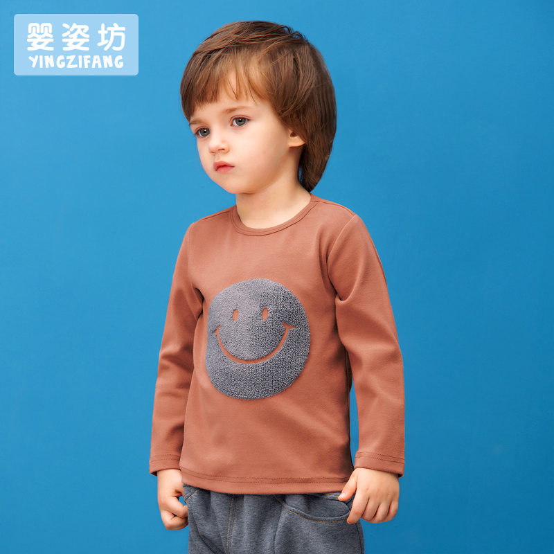 2017-New-Hot-Sale-Full-O-neck-Character-Regular-Yingzifang-Unisex-Casual-Sleeves-Cotton-Smile-Face-Tees-Kids-T-shirts-1