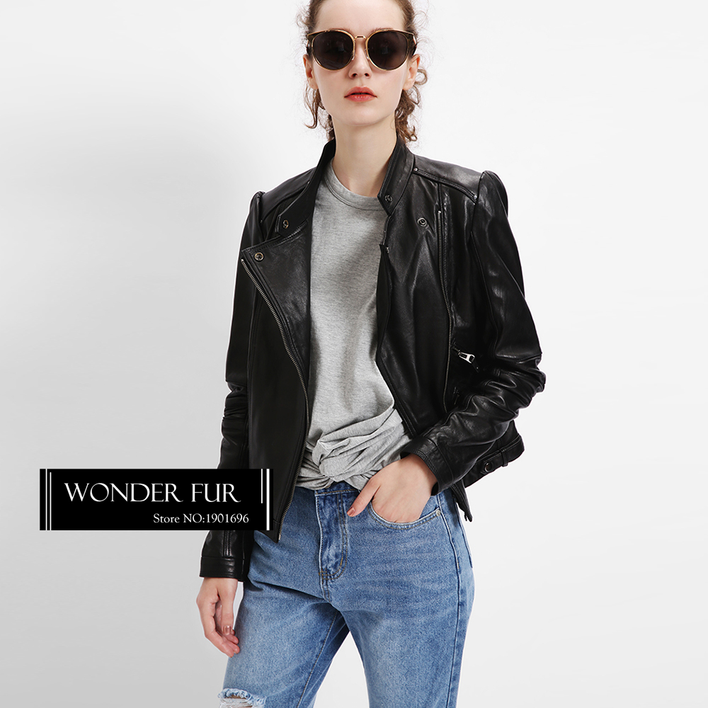 Vogue Collection Ladies Real Leather Jacket Cool New Zealand Sheepskin Coat Motorcycle Jacket Leather & Suede Luxury Runway