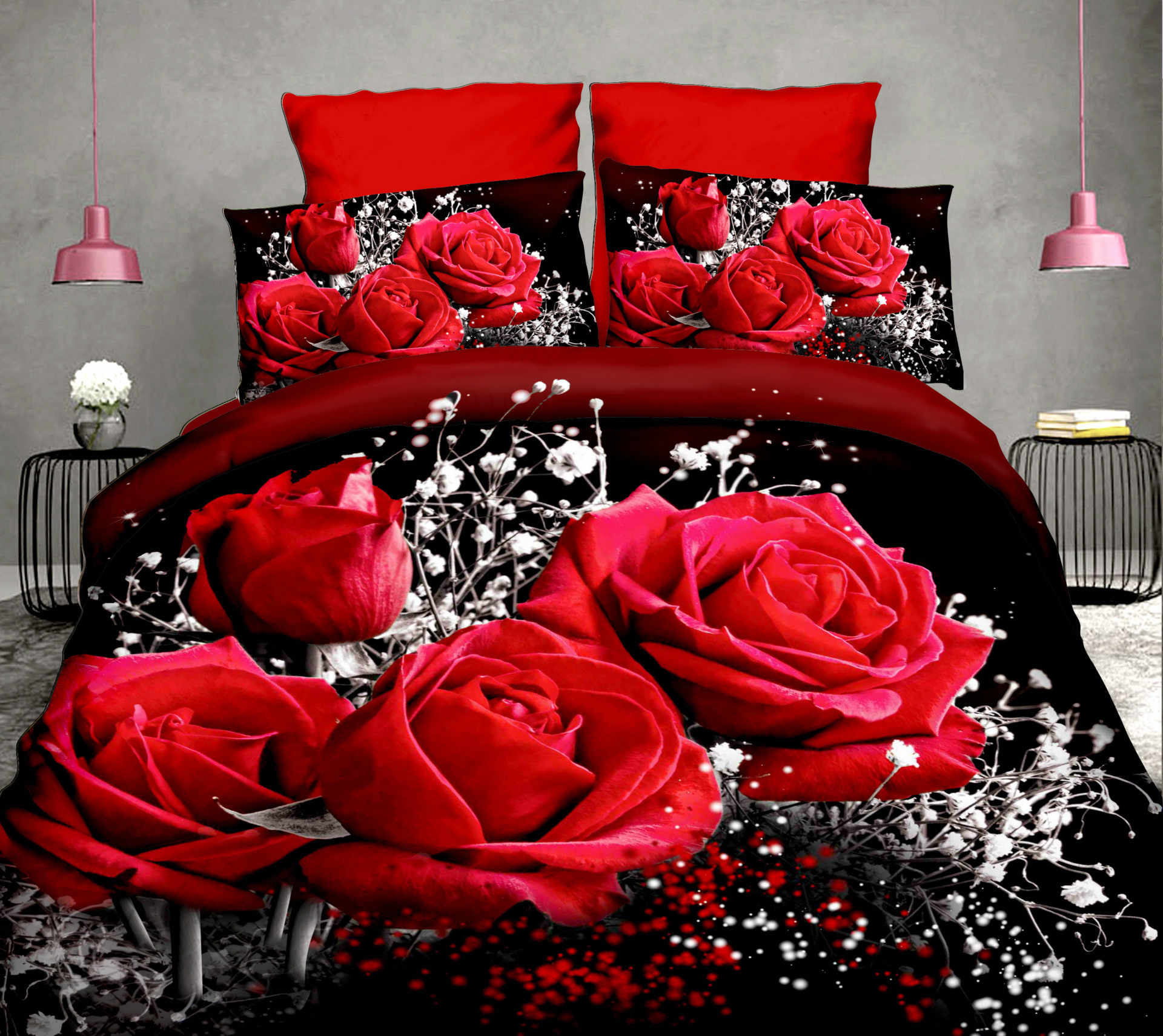 4pcs Cotton 3D Rose Bedding Sets High Quality Soft Duvet Cover Bedsheet Pillowcase Reactive Printed Bedclothes Queen Bed Linen30