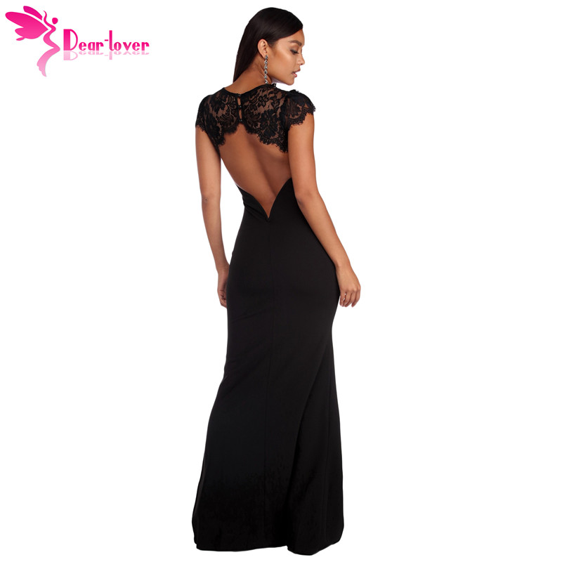 Dear Lover Robe de Soiree Longue Maxi Summer Short Sleeve Black Lace Splice Open Back Party Gown Dress Vestido De Festa LC610209