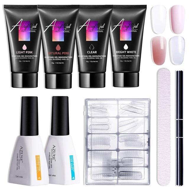 Azure Beauty Poly UV Gel Starter Kit 30ml/4pcs White Pink Clear Gel ...