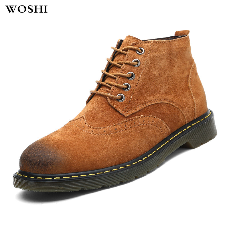 winter Boots Men cow Suede Leather new Style Fashion Male Work Shoes outdoor Men Ankle Boots sneakers Martin Boot Large size 47 men s desert military boots touch guy cow suede genuine leather ankle martin boot