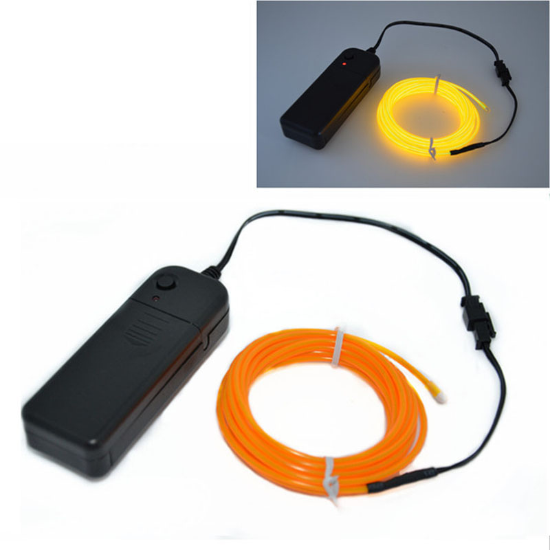 3m EL Wire Tube Rope Battery Powered Flexible Neon Light With Controller Orange Lighting Party Decoration Glow Party Supplies DA