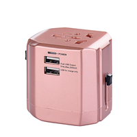 High Quality World Travel Adapter International Socket Convertor AU US UK EU Plug With 2 USB