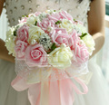 2017 Beautiful MInt Green Wedding Bouquet All Handmade Bridal Flower Wedding Bouquets Artificial Pearls Flower Rose Bouquet
