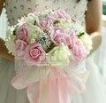 2017 Hermoso Ramo De La Boda Verde Menta Todo Hecho A Mano de Perlas de Novia Flores de La Boda Ramos de Flores Artificiales Flor de Rose Bouquet