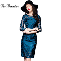 Rebantwa Brand Vestidos XXXL Dress Autumn Women High Quality Embroidery Mesh Hollow Out Dress 3 4
