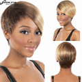 Newest High Quality European Hairstyles Short Wig for Black Women Heat Resistant Short Straight Brown Blonde Bobo Wig