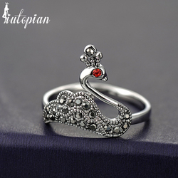Iutopian marque Vintage rétro élégant cygne anneau Anels pour les femmes oiseau anneaux Anti allergie pas se faner qualité supérieure # K3438