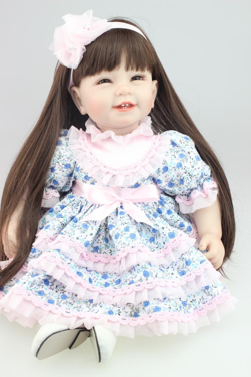 55CM Long Black Hair Reborn Dolls with Pastoral Dress for ...