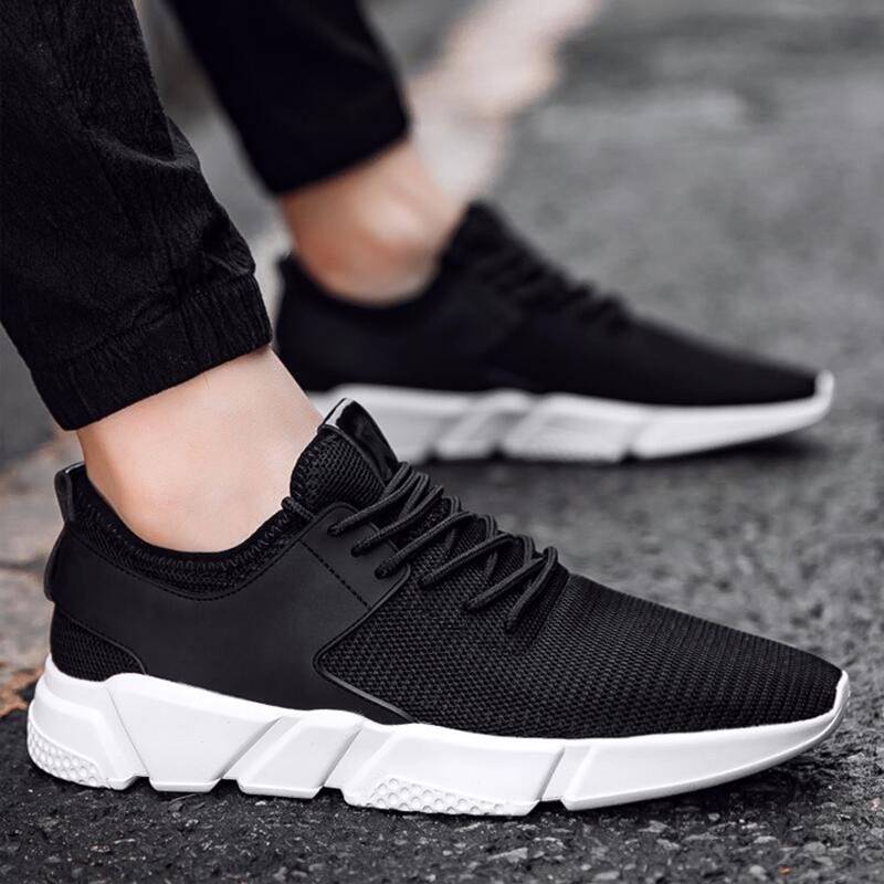 Summer Male Sports Shoes Run Gym Trail Running Shoes Men Light Weight Cushion Lace-up Sneakers Fitness Shoes for Outdoor Walking