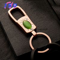 Creative Business Gifts Car Key Chain With Opal Simple Metal Key Rings Pendant For Jaguar Mazda