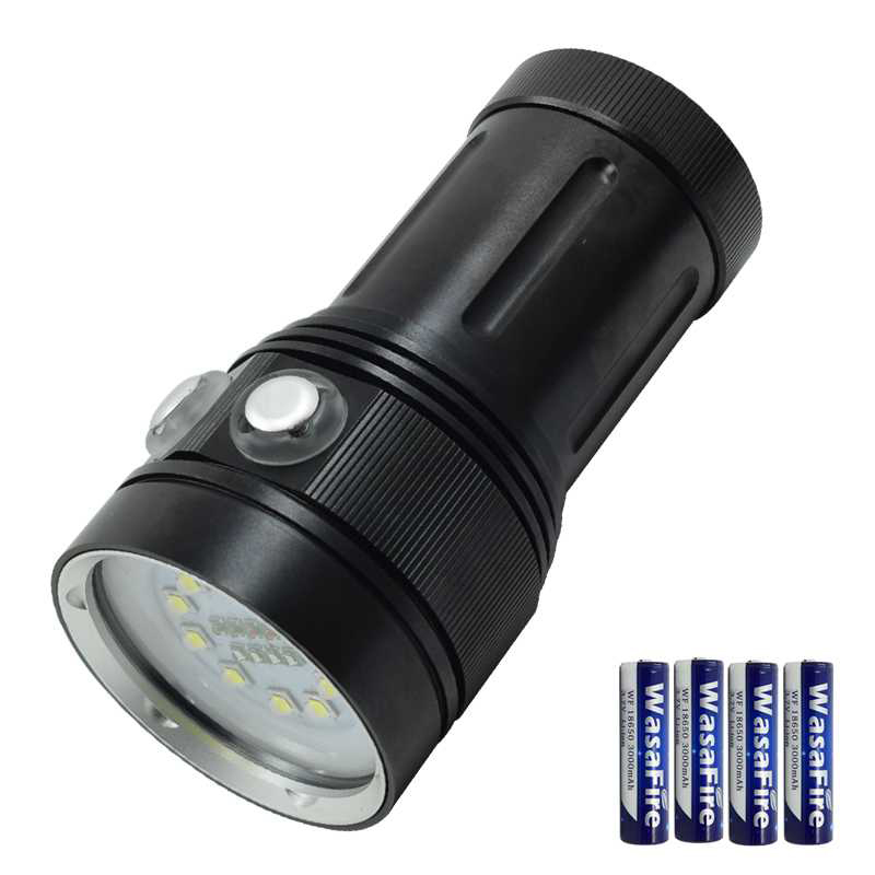 Diving Flashlight 10* L2 + 4*R + 4*UV/Purple Light LED Torch Video Fill Light Dive Flashlight Lamp With 4 * 18650 Battery diving flashlight 10 xml l2 4 r 4 uv purple light led torch fill light dive flashlight lamp with 4 18650 battery charger