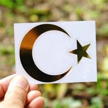 Three Ratels MT 021 #60*74mm flaga turcji turcja półksiężyc flaga turcji gwiazda z metalu nikiel naklejki samochodowe naklejki samochodowe