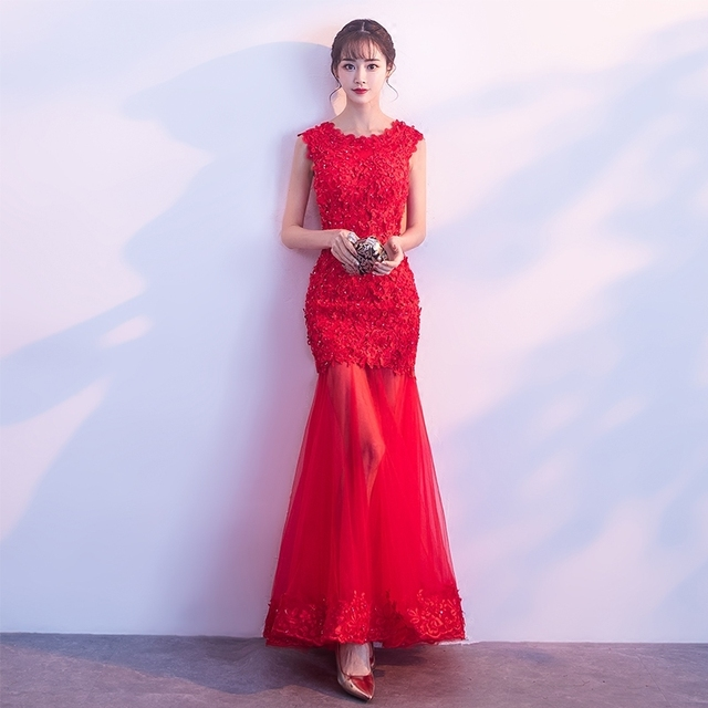 536cbd5fa8f Red Mermaid Dress Chinese Modern Qipao Long Party Dresses Sexy Oriental Cheongsam  Wedding Traditional Lace Hollow Vestidos Robe