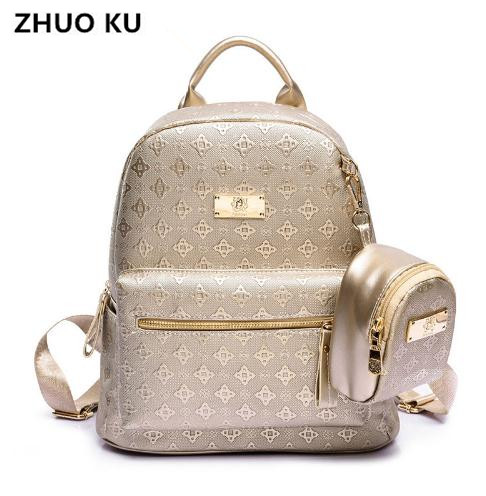 Zhuoku Women's Backpack Fashion 2017 Women's Leisure Grade Pu Bag Set With Purse Brand Girl Backpack School Bag For Teenages
