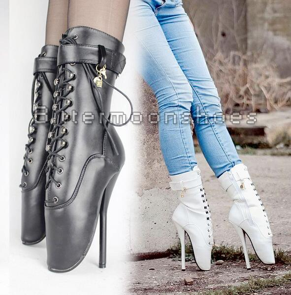 все цены на  H-Free Ship Adult SM Sexy Queen Ballet Dancing Shoes Women Boots Fetish Zapatos Mujer Lock Short Boot Customize Big Size 18cm  в интернете
