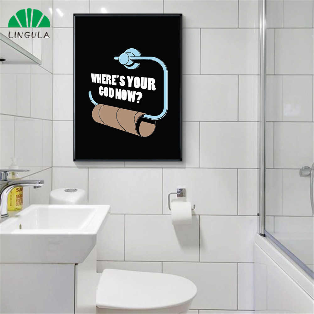Funny Plakat Quotes Toilet Paper Black Painting Wall Pictures for Bathroom Modern Minimalistic Watchmen Wall Decor Canvas Print