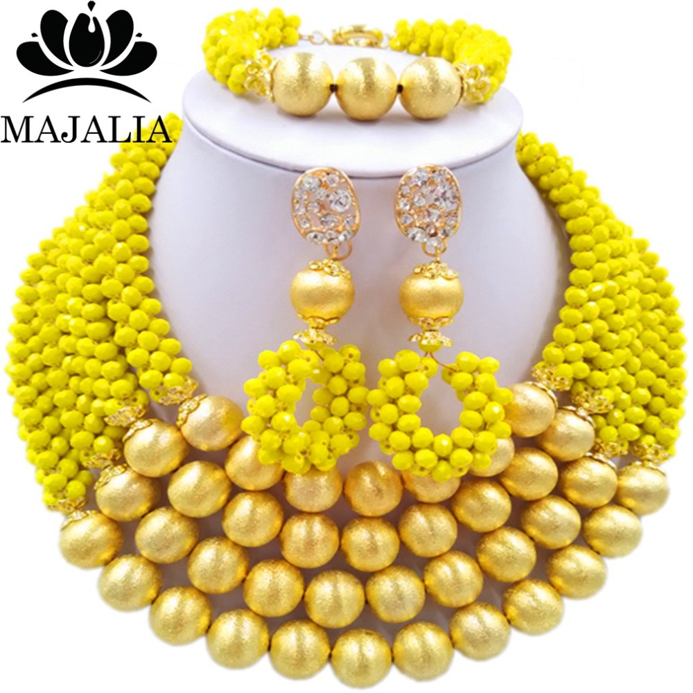 купить Fashion african wedding beads yellow nigerian wedding african beads jewelry set Crystal Free shipping Majalia-301 по цене 4497.35 рублей
