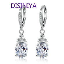 New Authentic White & Blue Crystal Anti-allergic Environmentally Fashion Copper Zircon Jewelry Drop Earring YIE096