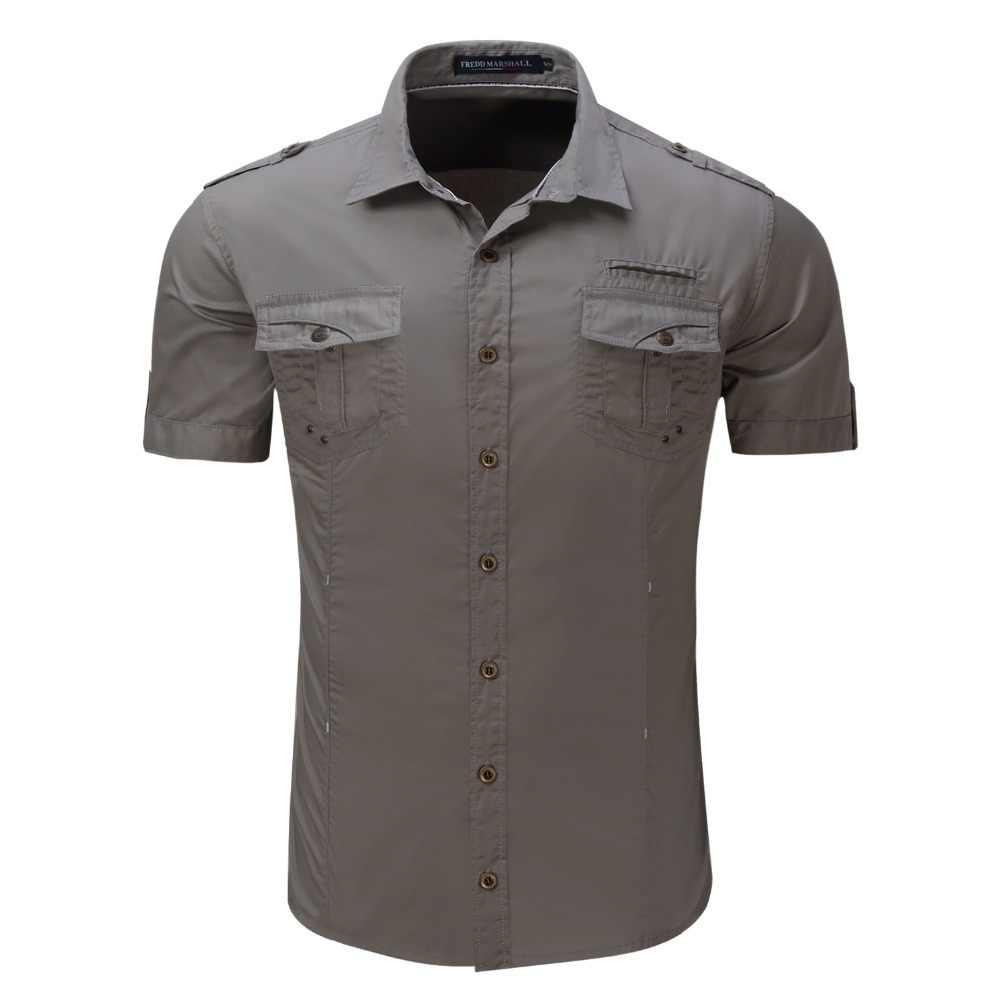 قميص رجالي 2019 قصيرة الأكمام البضائع قميص الأزياء عارضة الصيف موحدة العسكرية نمط القطن الصلبة الذكور عارضة قميص كاكي رمادي