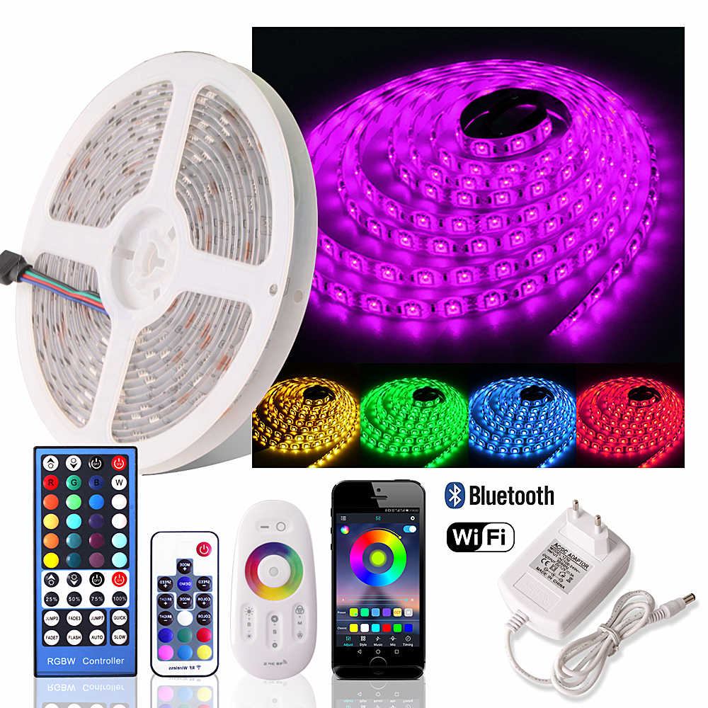 5050 RGB LED Strip 12 V Tahan Air Dimmable Fleksibel Lampu Neon Fita LED RGB Tape Tira LED WIFI 24 Tombol /Bluetooth/2.4G Remote Set