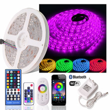 5050 RGB LED Strip 12 V Tahan Air Dimmable Fleksibel Lampu Neon Fita LED RGB Tape Tira LED WIFI 24 Tombol /Bluetooth/2.4G Remote Set(China)