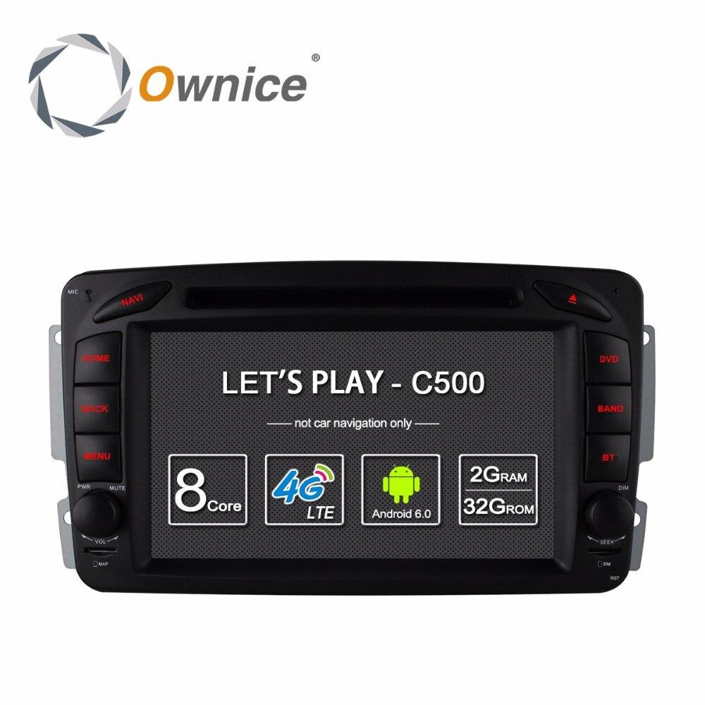 4 Г SIM <font><b>LTE</b></font> Android 6.0 4 Core 2 Din Автомобильный DVD Плеер с СЕНСОРНЫМ для Mercedes CLK W208 W209 W203 W168 W463 W170 Vaneo Viano Vito E210 C208